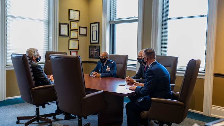 Air Force Chief of Staff Gen. Charles Q. Brown, Jr. talks with Dr. Fred Pestello, Saint Louis University