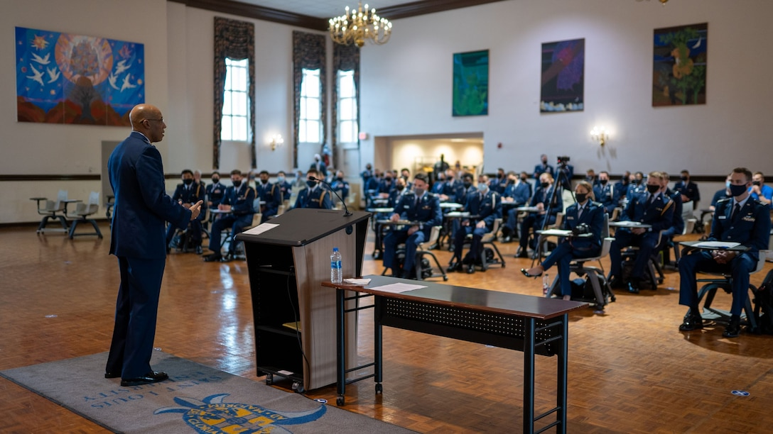 Air Force Chief of Staff Gen. Charles Q. Brown, Jr. speaks to Air Force Reserve Officer Training Corps Detachment 207 cadets during a leadership laboratory at Saint Louis University, St. Louis, Missouri April 28, 2021. Brown highlighted his perspective on leadership and stressed the need for future leaders who can adapt to solve complex challenges. (U.S. Air Force photo by Cadet Phillip Casey)