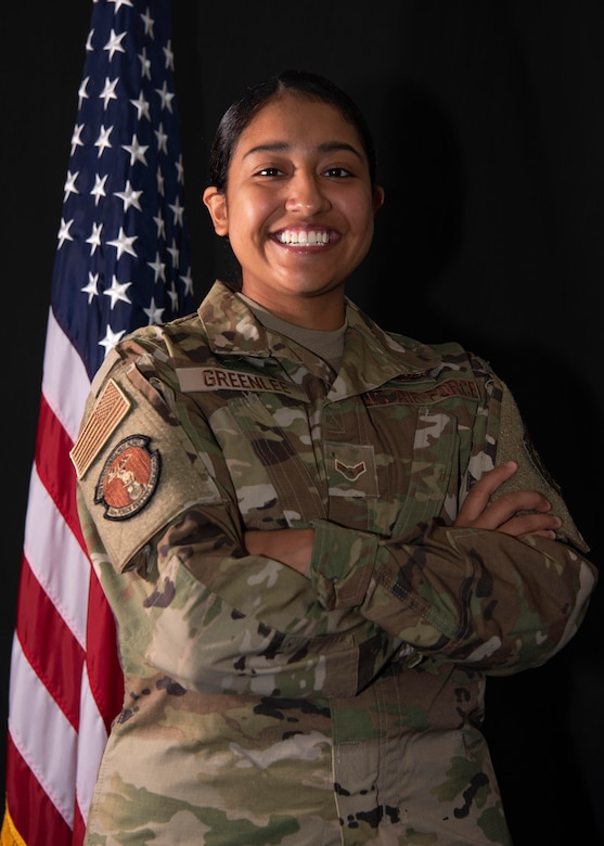 Airman 1st Class Jessica Makenna Martinez Greenlee, 36th Force Support Squadron services journeyman, poses for a portrait at Andersen Air Force Base, Guam, May 3, 2021. Although Greenlee's childhood with 29 siblings was not the most conventional, it crafted her into the resilient woman and Airman she is today. (U.S. Air Force photo by Senior Airman Aubree Owens)