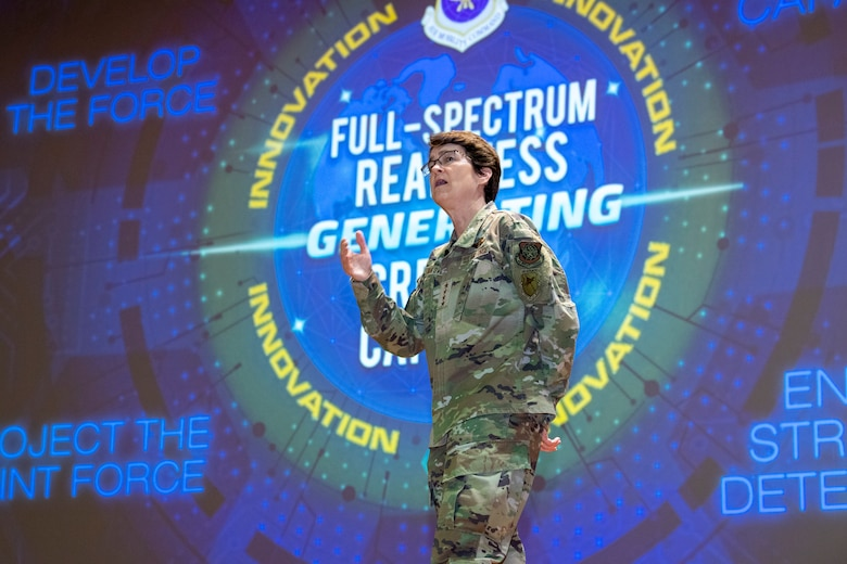 Gen. Jaqueline Van Ovost, the Air Mobility Command (AMC) commander speaks during a commander's call at MacDill Air Force Base, Fla., April 28, 2021.