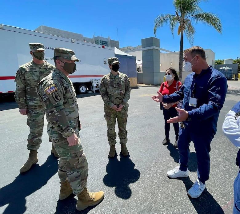 Maj. Gen. Jeffrey Milhorn, U.S. Army Corps of Engineers deputy commanding general for Military and International Operations, second from left, got a close-up look April 28 at the finished additions to two hospitals in the Los Angeles District area of operations — Adventist Health White Memorial Medical Center in Boyle Heights and Mission Community Hospital in Panorama City, California.