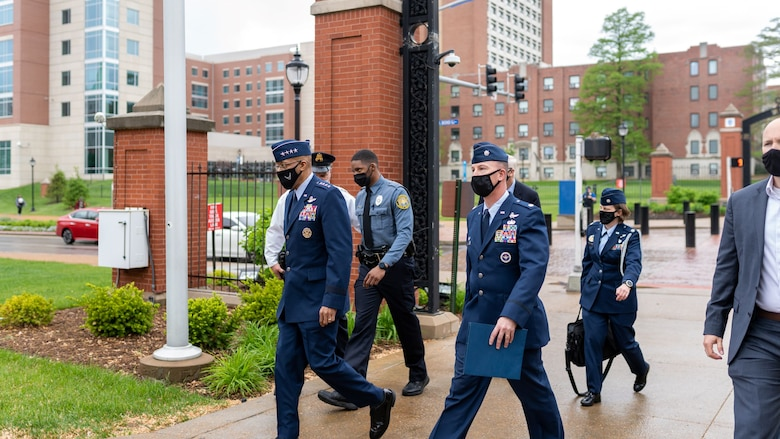 Air Force Chief of Staff Gen. Charles Q. Brown, Jr. arrives at Busch Student Center to speak at a an Air Force ROTC leadership laboratory at Saint Louis University, St. Louis, Missouri April 28, 2021. AFROTC Detachment 207 207 at SLU is composed of 85 students from nine schools in the Metro St. Louis area, representing diverse backgrounds, areas of study and career interests. (U.S. Air Force photo by Cadet Phillip Casey)