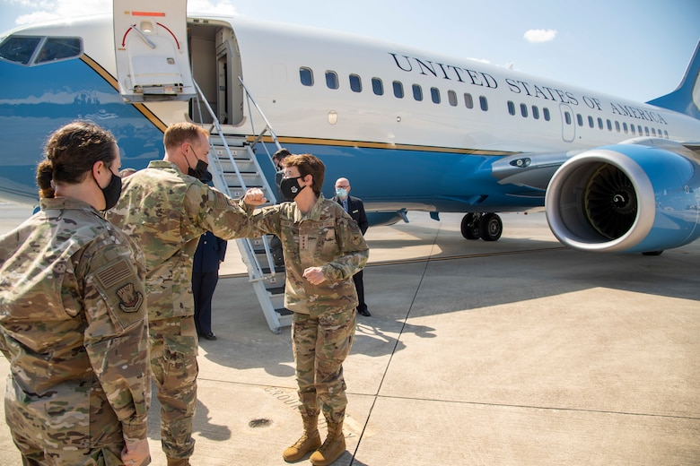 Gen. Jaqueline Van Ovost, the Air Mobility Command (AMC) commander, bids farewell to, Col. Benjamin Jonsson, the 6th Air Refueling Wing (ARW) commander, and Chief Master Sgt. Shae Gee, the 6th ARW command chief, at MacDill Air Force Base, Fla., April 28 2021.