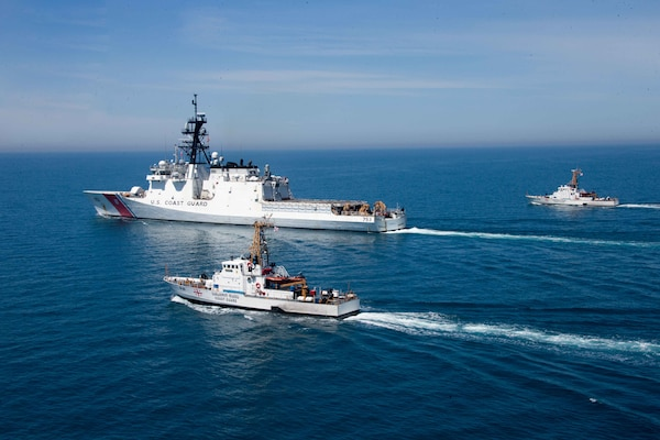 210502-G-G0108-1510 BLACK SEA (May 2, 2021) USCGC Hamilton (WMSL 753) and Georgian coast guard vessels Ochamchire (P-23) and Dioskuria (P-25) conduct underway maneuvers in the Black Sea, May 2, 2021. Hamilton is on a routine deployment in the U.S. Sixth Fleet area of operations in support of U.S. national interests and security in Europe and Africa. (U.S. Coast Guard courtesy photo)