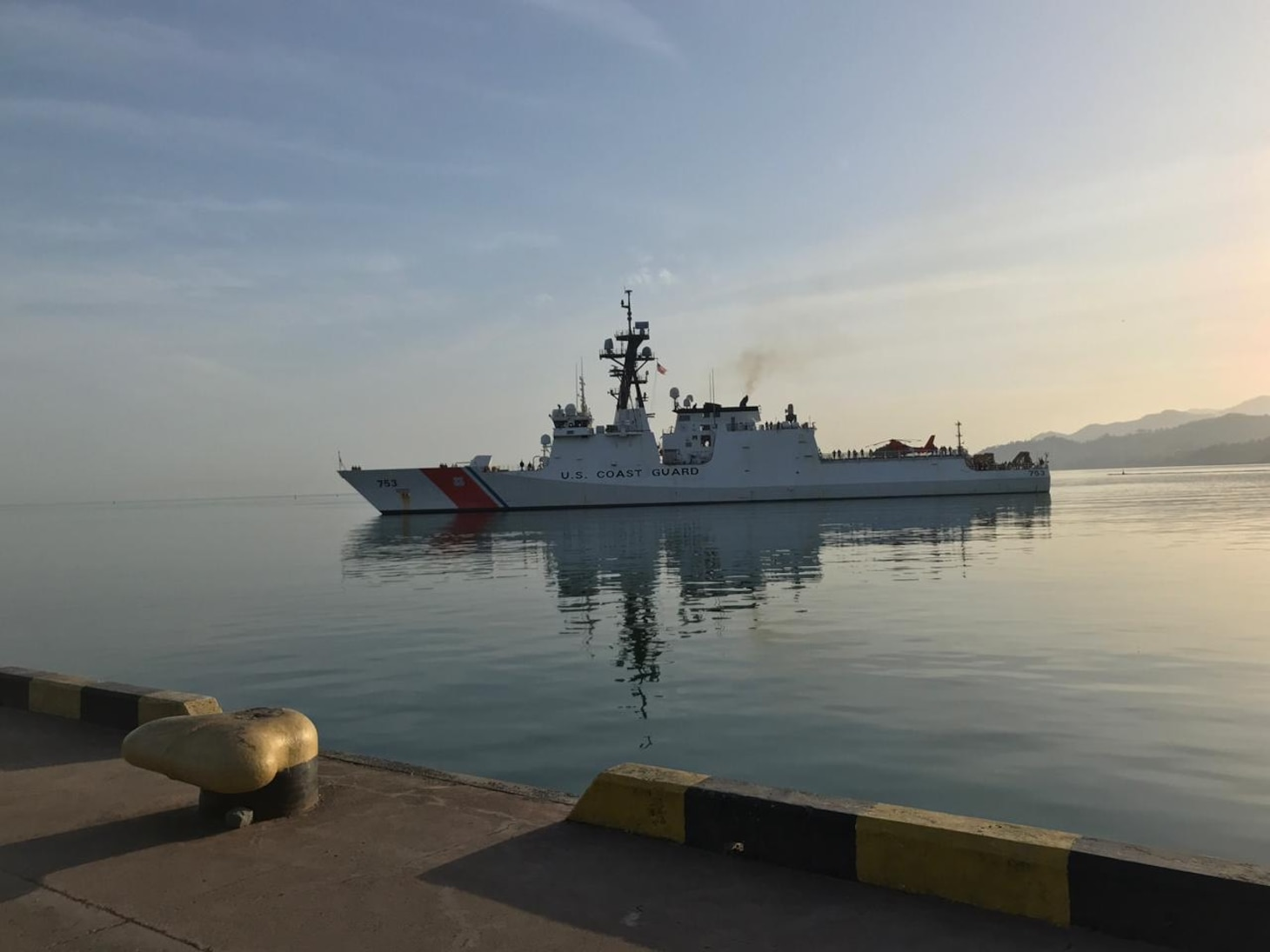 The Legend-class national security cutter USCGC Hamilton (WMSL 753) pulls into Batumi, Georgia after completing interoperability exercises and drills with the Georgian Coast Guard, May 4, 2021.