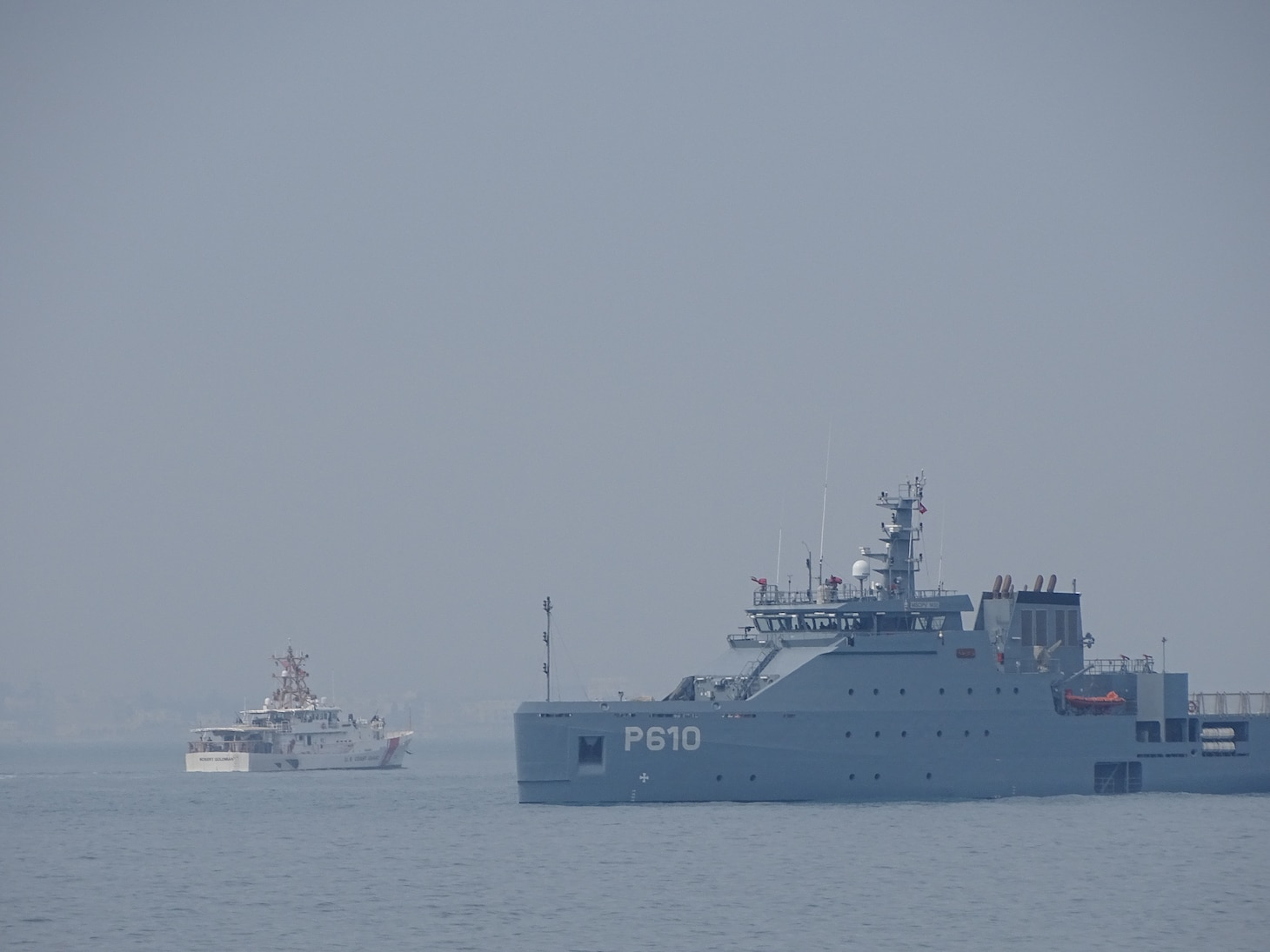 USCGC Robert Goldman (WPC 1142) and Tunisian Naval offshore patrol vessel Jugurtha (P610) escorted the two U.S. Coast Guard vessels inbound on April 21, 2021. USCGC Charles Moulthrope (WPC 1141) and Robert Goldman are en route to their new homeport in Bahrain in support of the Navy's U.S. Fifth Fleet and U.S. Coast Guard Patrol Forces Southwest Asia.