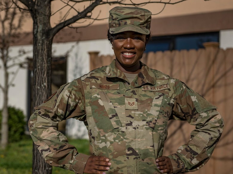 U.S. Air National Guard Staff Sgt. Cherelle Hines, an education and training specialist at the 121st Force Support Squadron, 121st Air Refueling Wing, Columbus, Ohio, poses for a photo at Rickenbacker Air National Guard Base, April 11, 2021. Hines was recently recognized as the 2021 Outstanding Black Leader of Tomorrow for the city of Bloomington, Indiana. (U.S. Air National Guard photo by Senior Airman Mikayla Gibbs)