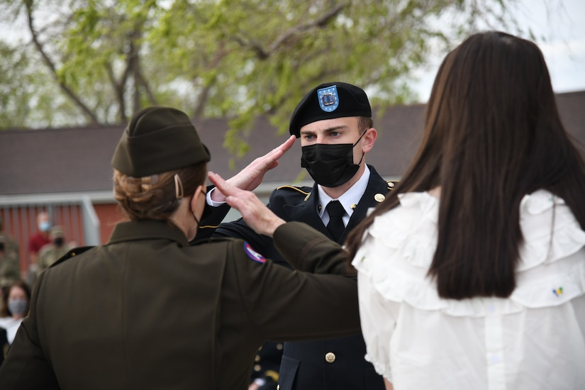 Soldier salutes officer