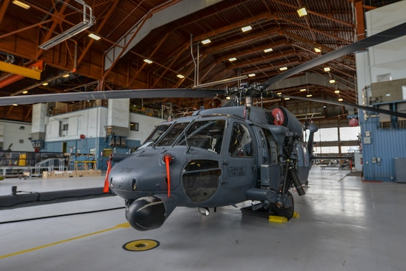 HH-60 sits in a hanger