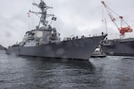 USS Milius (DDG 69) departs from Fleet Activities Yokosuka for sea trials.