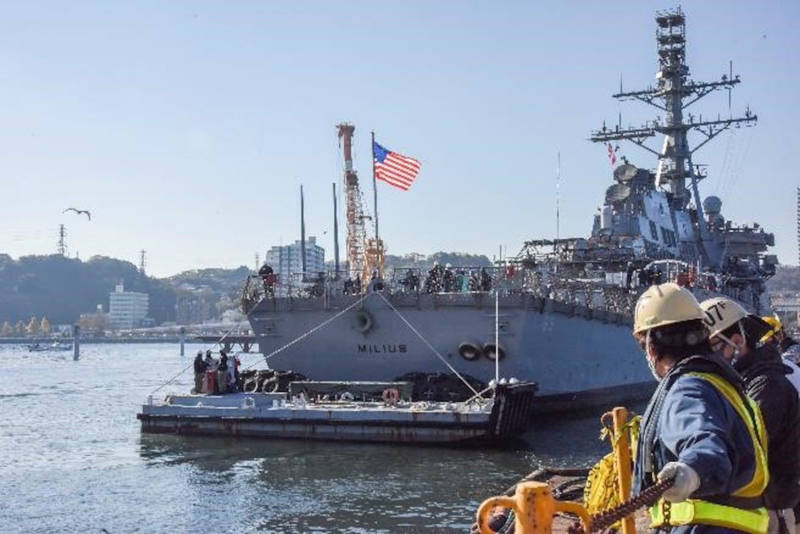 USS Milius (DDG 69) transits into Tokyo Bay to continue further repairs pier side, after Ship Repair Facility and Japan Regional Maintenance Center successfully undocks the ship from the dry dock.