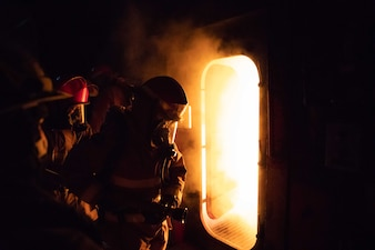 Sailors assigned to various local commands participate in advanced shipboard firefighting training at the Firefighting Training Facility at Naval Station Mayport.