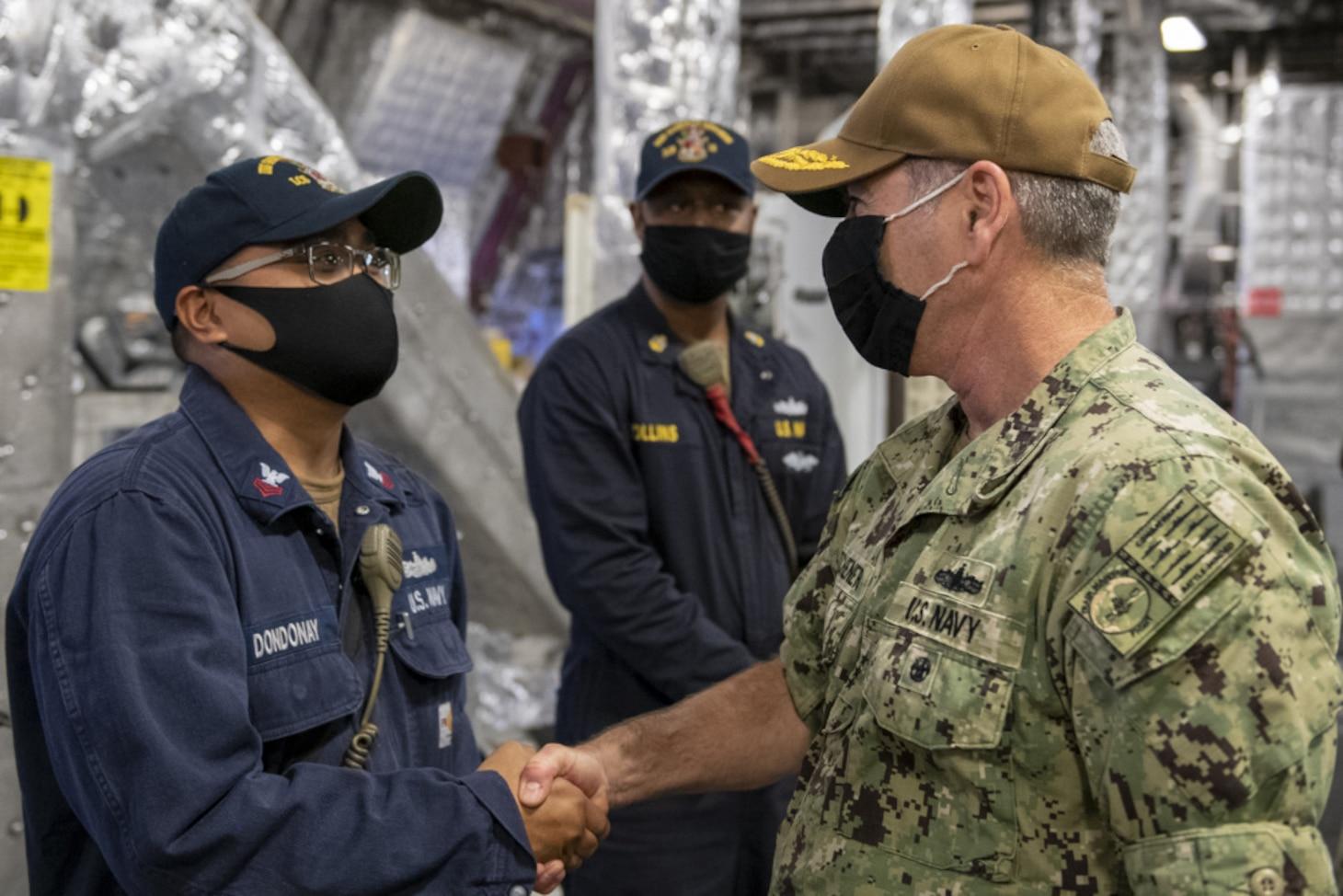 Vice Adm. Kitchener Visits USS Gabrielle Giffords