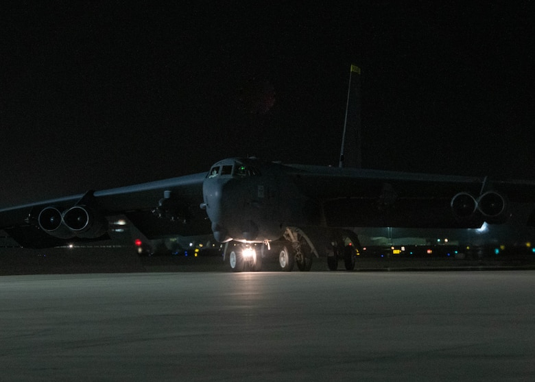 A B-52H Stratofortress aircraft assigned to the 5th Bomb Wing, Minot Air Force Base, North Dakota, arrives May 4, 2021, at Al Udeid Air Base, Qatar.  Two additional bombers arrived May 4, joining the four B-52 aircraft that arrived in late April to protect the orderly and responsible withdrawal of U.S. and coalition forces from Afghanistan.  (U.S. Air Force photo by Staff Sgt. Greg Erwin)