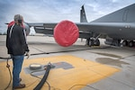 Danny Bowlin, a fuels contractor, pumps fuel from a new $35 million Type III fuel hydrant system, to a KC-135R Stratotanker on May 4, 2021 at Grissom Air Reserve Base. The new system replaces a system installed in the 1950s. (U.S. Air Force photo/Douglas Hays)