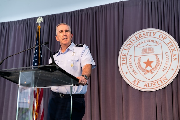 Vice Chairman of the Joint Chiefs of Staff, Gen. John E. Hyten speaks during the Joint Requirements Oversight Council's visit to Austin, Texas April 9 for an event showcasing commercial and military collaboration, including the Air Force Research Laboratory's AFWERX program. (Photo courtesy of Joint Requirements Oversight Council)