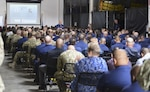 U.S. Coast Guard Vice Commandant, Adm. Charles Ray, speaks to Coast Guardsmen and women at Base LA/LB about the value of it service members and the Coast Guard leadership's commitment to the Sexual Assault Prevention, Response and Recovery program in San Pedro, California, May 2, 2019. April is designated Sexual Assault Awareness and Prevention Month. (U.S. Coast Guard photo by Seaman Ian Gray)