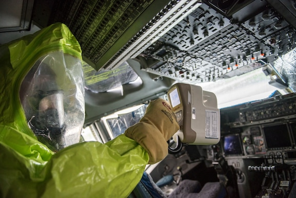 U.S. Air Force Staff Sgt. Austin Lloyd, 167th Airlift Wing firefighter, uses a gamma detector in the cockpit of a C-17 Globemaster III aircraft, during a Counter CBRN (Chemical, Biological, Radiological, and Nuclear) All-Hazard Management Response, or CAMR, exercise at the 167th AW, Martinsburg, West Virginia, April 30, 2021. CAMR is a hybrid program of classroom lecture, discussion and tabletop exercises that culminate in a full scale emergency response exercise.