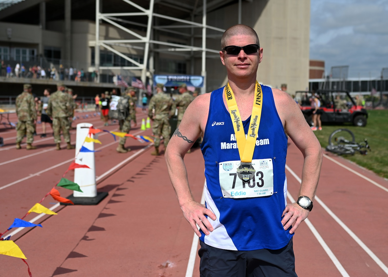 Capt. Raymond Youngs of Joint Force Headquarters, New Hampshire National Guard, poses at University of Nebraska's Ed Weir Stadium following his May 2, 2021,