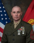 Official photo of Marine Sgt. Maj. Jody Armentrout in Service Alphas. Sergeant Major, Marine Aviation Training Support Group Twenty Two.