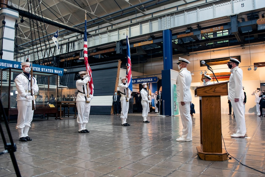 Chief of Naval Operations Adm. Mike Gilday attends full honors ceremony for Royal Navy First Sea Lord and Chief of the Naval Staff Adm. Tony Radakin.