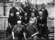 The coaling crew from USCGC BEAR in Unalaska, July, 1918