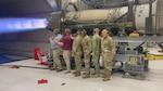 DLA leaders watch a demonstration of a F-22 maximum propulsion engine run.