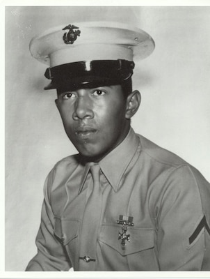 Official photo of Lance Cpl. Miguel Keith in Marine Corps dress uniform