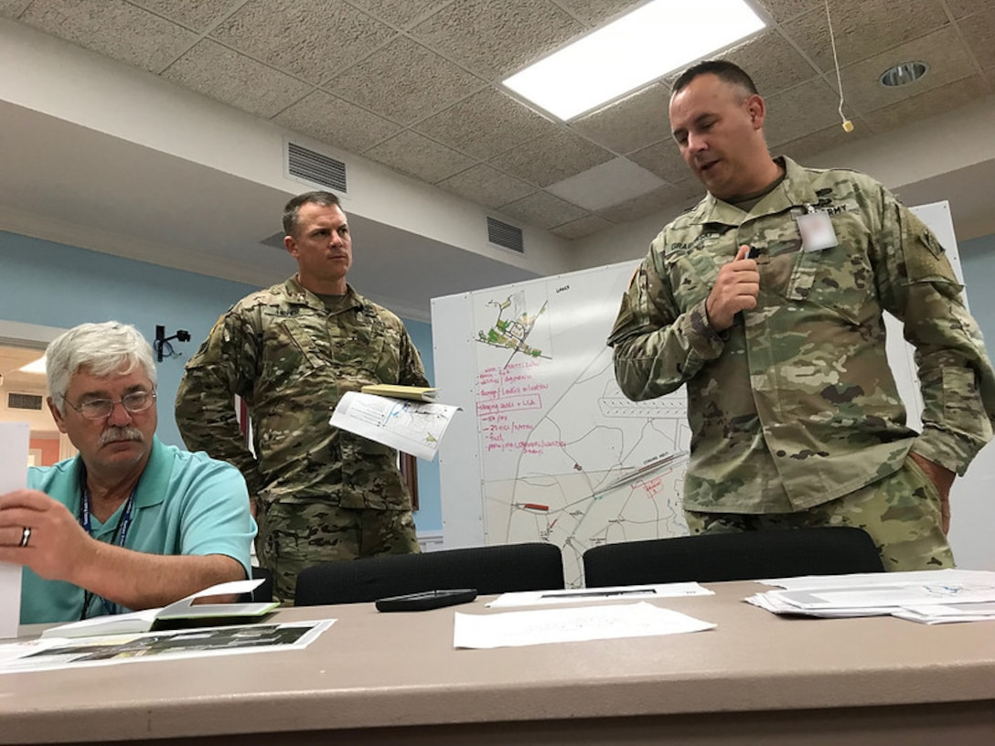 From right: Lt. Col. John Grabowski, deputy commander for cyber transformation at Fort Gordon, talks with Col. Daniel Hibner, commander, U.S. Army Corps of Engineers Savannah District, and Ken Gray, chief of Construction Division at USACE Savannah District, at Military Ocean Terminal Sunny Point, N.C., or MOTSU, following Hurricane Florence's landfall in North Carolina Sept. 20, 2018. Photo by Russ Wicke, USACE Savannah District.