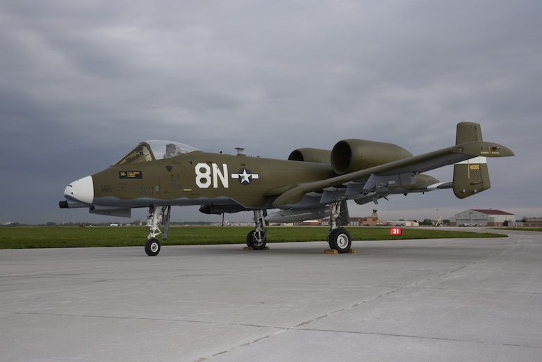 A U.S. Air Force A-10 Thunderbolt painted with a world war two heritage paint scheme