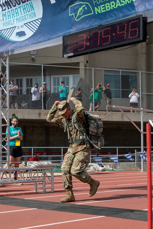 National Guard runners participate in the annual Lincoln Marathon time trials on Sunday, May 2, 2021.