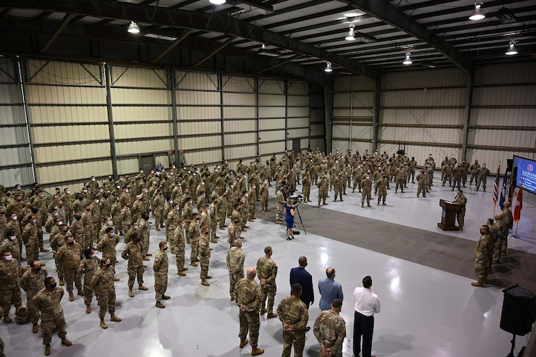 The Louisiana National Guard's 3rd Battalion of the 156th Infantry Regiment, 256th Infantry Brigade Combat Team, take part in their deployment ceremony in Lafayette, La., Nov. 10, 2020. This unit joins the approximately 2,000 Louisiana guardsmen deploying to the Middle East to support U.S. Central Command (CENTCOM) operations.