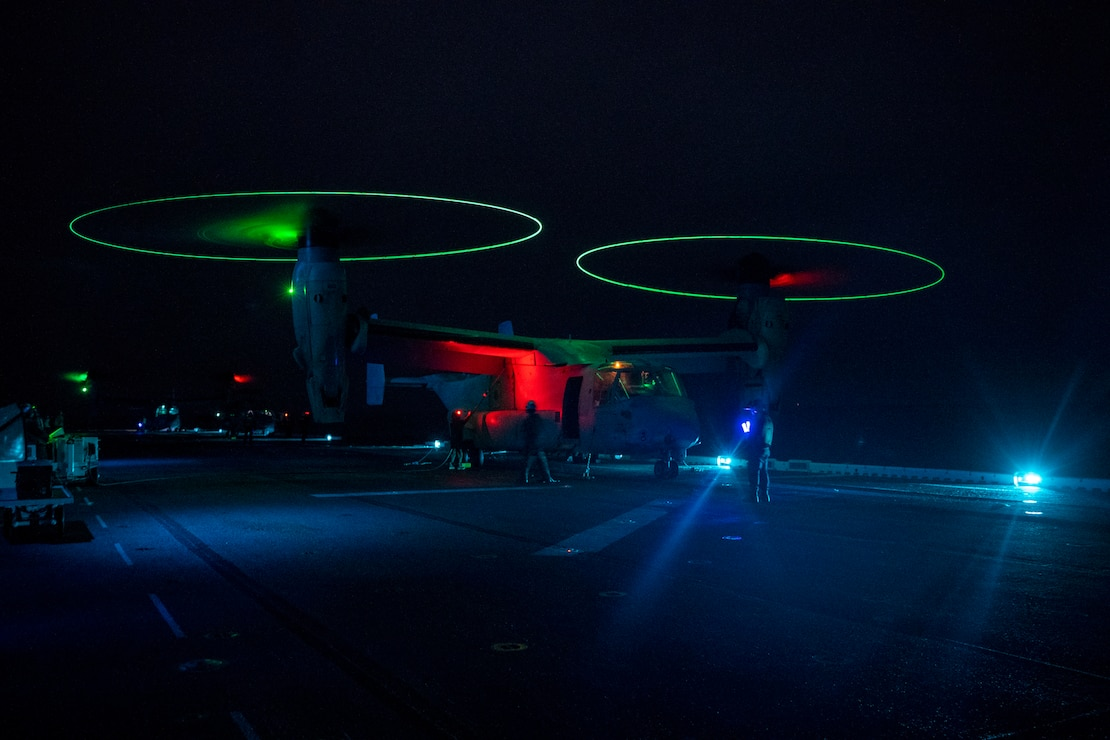 An MV-22B Osprey lands aboard the amphibious assault ship USS Essex (LHD 2), April 20.
