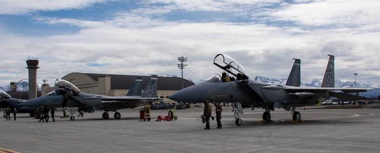 F-15EXs sit on the ramp prior to flight at Joint Base Elmendorf-Richardson in support of Northern Edge 2021. The purpose of the F-15EX's participation in Northern Edge is to allow for immediate deep-end testing in a complex jamming environment to gather essential test data for what works and what needs improvement.