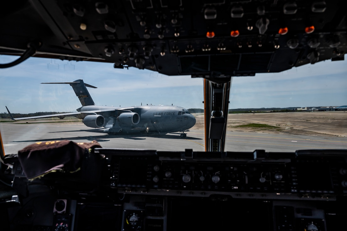 A C-17 Globemaster III assigned to the 911th Airlift Wing taxis on the flight line after completing a routine training mission at the Pittsburgh International Airport Air Reserve Station, Pennsylvania, April 27, 2021.