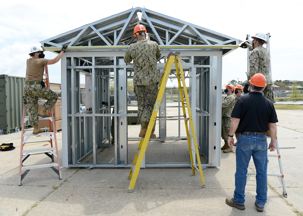 Seabees from NCG 2 and NCG 1 participated in a two-week class on how to set up and operate the Cold-formed Steel Mobile Factory (CFSMF) System on board Naval Construction Battalion Center Gulfport, MS.