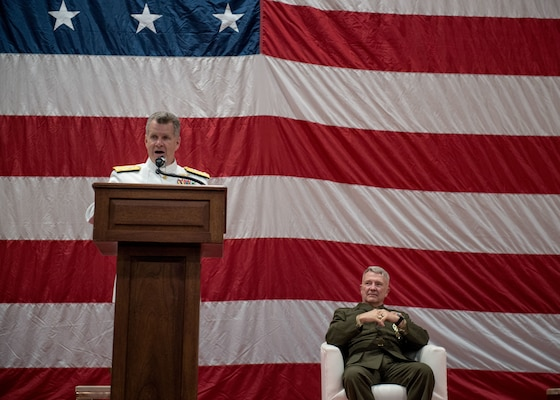 Gen. Frank McKenzie, right, commander of U.S. Central Command, listens to remarks given by Vice Adm. Sam Paparo, commander, U.S. Naval Forces Central Command (NAVCENT), U.S. 5th Fleet and Combined Maritime Forces (CMF), as he delivers remarks during a change of command ceremony onboard Naval Support Activity Bahrain, May 5. Paparo was relieved by Vice Adm. Brad Cooper. NAVCENT is the U.S. Navy element of U.S. Central Command in the U.S. 5th Fleet area of operations and encompasses about 2.5 million square miles of water area and includes the Arabian Gulf, Gulf of Oman, Red Sea and parts of the Indian Ocean. The expanse is comprised of 20 countries and includes three critical choke points at the Strait of Hormuz, the Suez Canal and the Strait of Bab al Mandeb at the southern tip of Yemen.