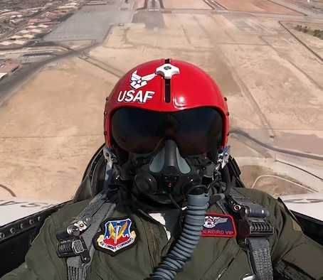 Former Ultimate Fighter Championship champion and UFC Hall of Famer Forrest Griffin in the backseat of a U.S. Air Force Thunderbird jet upon takeoff at Nellis Air Force Base, Nevada, Apr. 23, 2021.