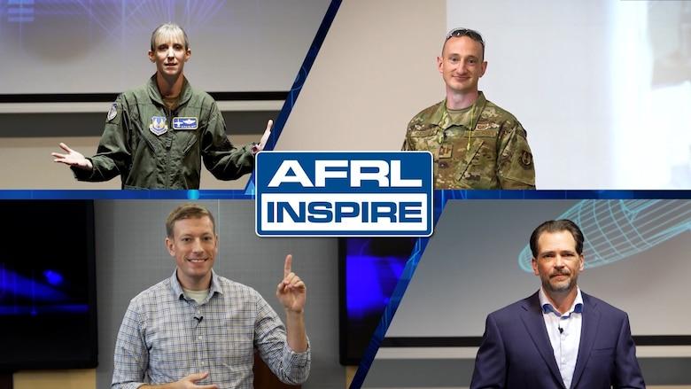 "AFRL Inspire pre-recorded speakers: Lt. Col. Olivia ""Pi"" Elliott, Capt. Tylor Rathsack, John Henry Williams, and Dr. James Sumpter. (U.S. Air Force photo illustration/Patrick Londergan)"