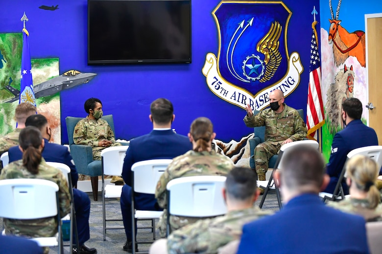 ABW leadership address Airmen during a Coffee Talk event at the Airman Recreation Center.
