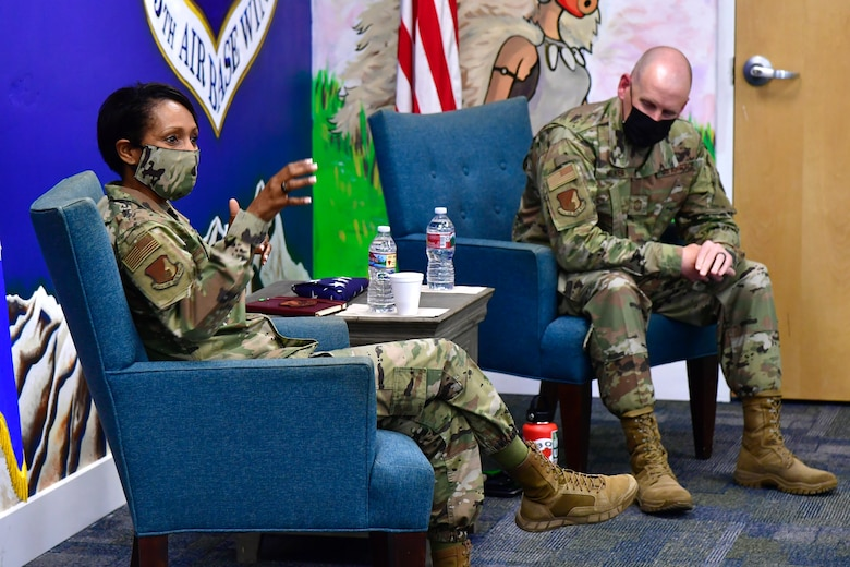 ABW leadership addressing Airmen during a Coffee Talk event.