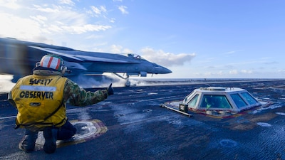 USS Theodore Roosevelt (CVN 71) conducts flight operations during Northern Edge 2021.