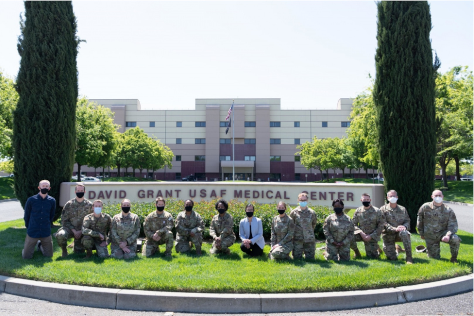 Travis Air Force Base Lifestyle and Performance Medical Clinic team pose for a group photo at David Grant USAF Medical Center at Travis AFB, California, April 15, 2021.
