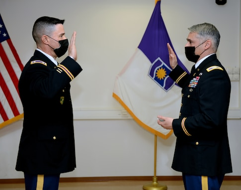 Army Reserve Officer promotes in Germany