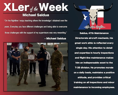 """Michael Saldua, 47th Maintenance Directorate aircraft mechanic, was chosen by wing leadership to be the """"XLer of the Week"""", the week of May. 05, 2021, at Laughlin Air Force Base, Texas. The """"XLer"""" award, presented by Col. Carey Jones, 47th Flying Training Wing vice commander, and Chief Master Sgt. David Snarr, 47th FTW command chief master sergeant, is given to those who consistently make outstanding contributions to their unit and the Laughlin mission. (U.S. Air Force Graphic by Airman 1st Class David Phaff)"""