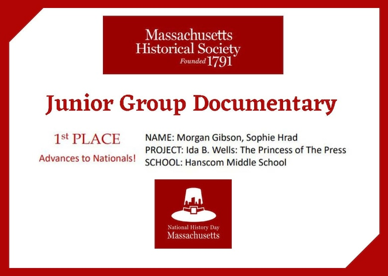Morgan Gibson and Sophie Hrad, eighth grade students from Hanscom Air Force Base Middle School, Mass., came in first place during the state-level National History Day competition for the junior group documentary category. The Hanscom students beat out more than 380 other submissions and will advance to the national competition in June.