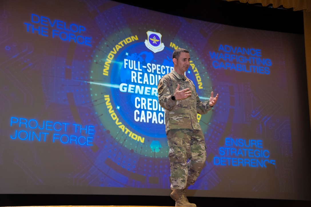 U.S. Air Force Chief Master Sgt. Brian Kruzelnick, Air Mobility Command command chief, speaks during a commander's call at MacDill Air Force Base, Florida, April 28, 2021.