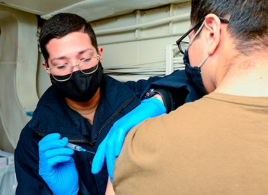 Theodore Roosevelt Carrier Strike Group Gets Vaccinated