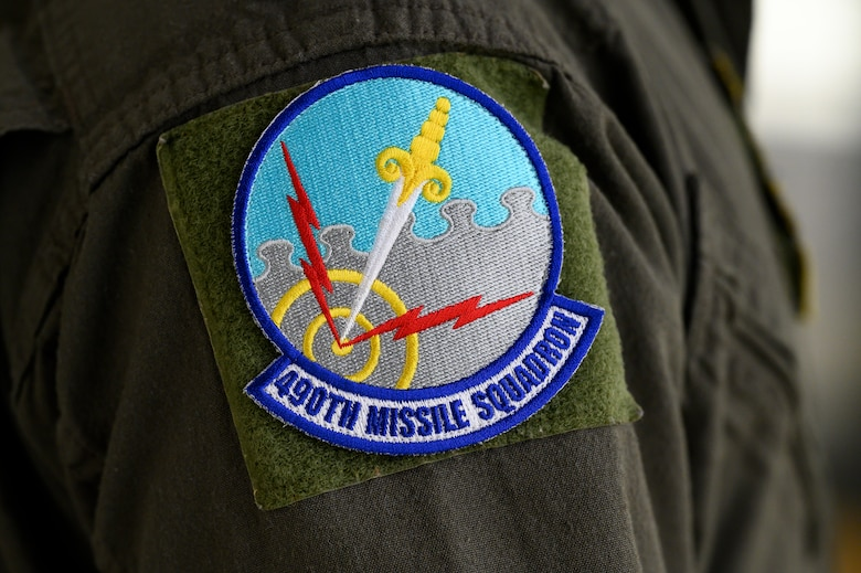 Pictured is a patch of the 490th Missile Squadron shield, May 4, 2021, at Malmstrom Air Force Base, Mont.