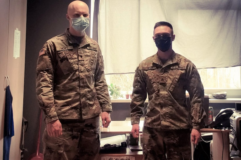 Spc. Bradley Hoyt, left, and Sgt. Bradley Taylor, both medics with the Pennsylvania National Guard's 108th Medical Company Area Support, pose in their office on a Lithuanian Army base in Marijampole, Lithuania, where they are providing medical support to U.S and Lithuanian troops. The 108th MCAS deployed to Europe in late February to provide medical support to U.S. and allied rotational forces in the region.